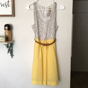 Yellow and white dress